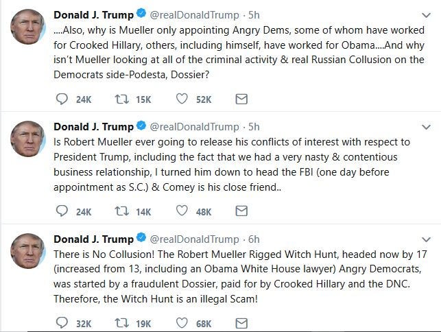 """Trump Provides Specifics on Mueller """"Conflicts of Interest"""" Claim"""