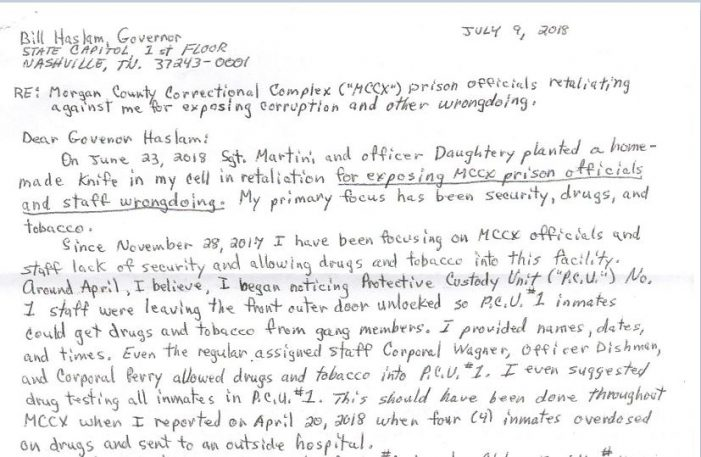"Inmate Claims Purposeful Retaliation for Exposing ""Wrongdoing"""