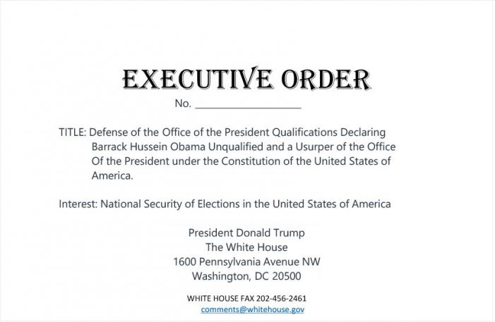 Former Presidential Candidate Proposes Executive Order Declaring Obama Ineligible