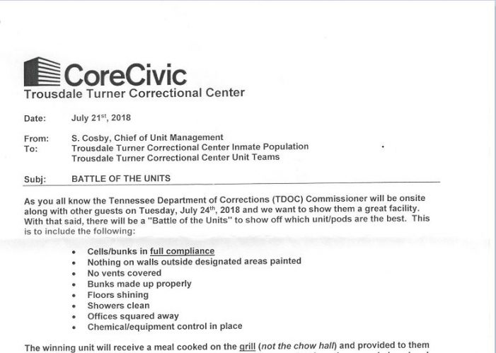 "CoreCivic Holds ""Battle of the Units"""