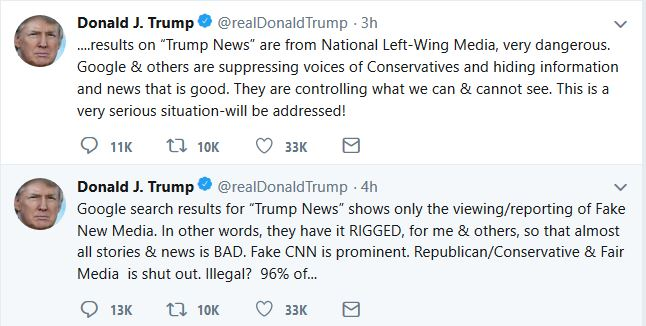 "Trump: Internet, Media ""Suppression"" ""Will Be Addressed"""
