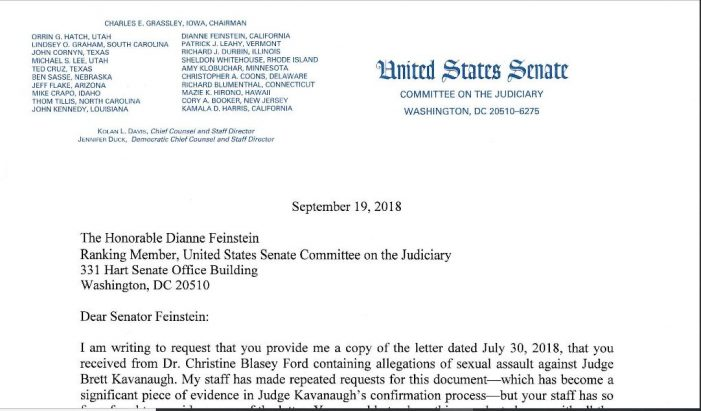 "Grassley:  Feinstein Has Not Provided Him ""Unredacted"" Copy of Ford's Letter"