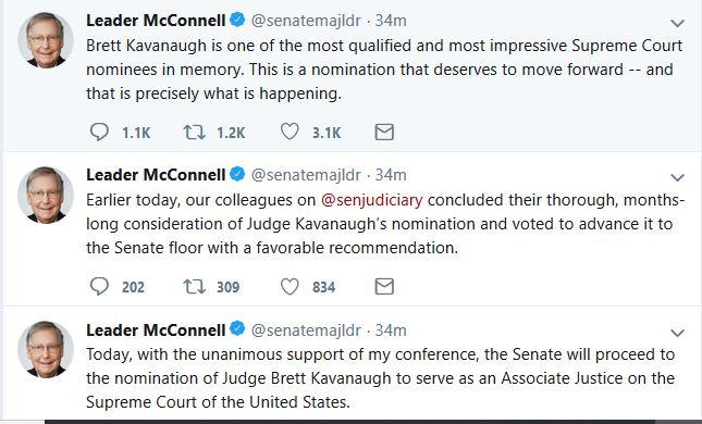 Republicans Vote to Bring Kavanaugh Nomination to Floor