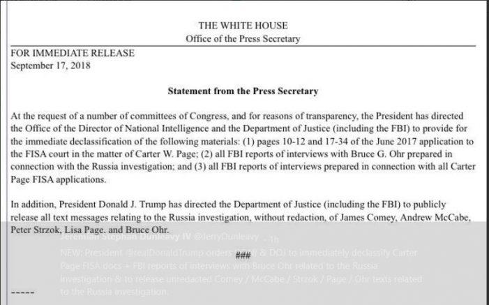 Trump Orders Certain FISA Documents Declassified