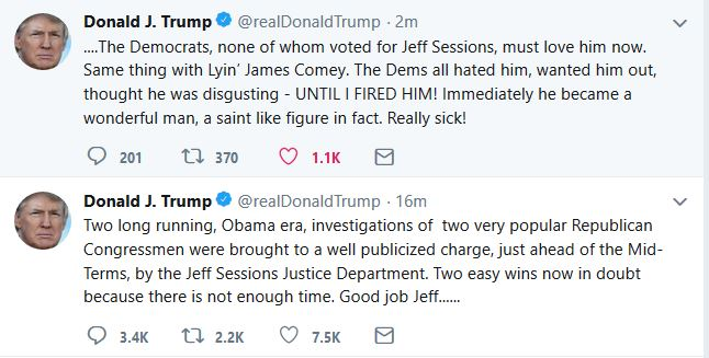 "Trump:  Democrats ""Must Love"" Jeff Sessions"