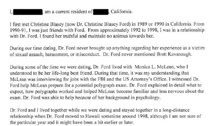 Ex-Boyfriend's Letter Contradicts Ford's Sworn Testimony
