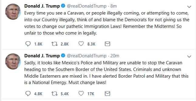 "Trump:  Approaching Caravan Constitutes ""National Emergency"""