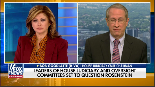 House Judiciary Committee Chairman Provides Preview of Expected Rosenstein Deposition