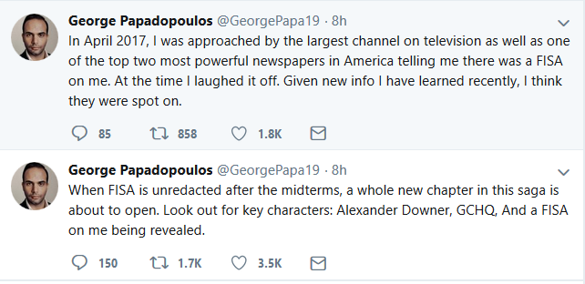 Papadopoulos Suggests Classified FISA Documents are about Him