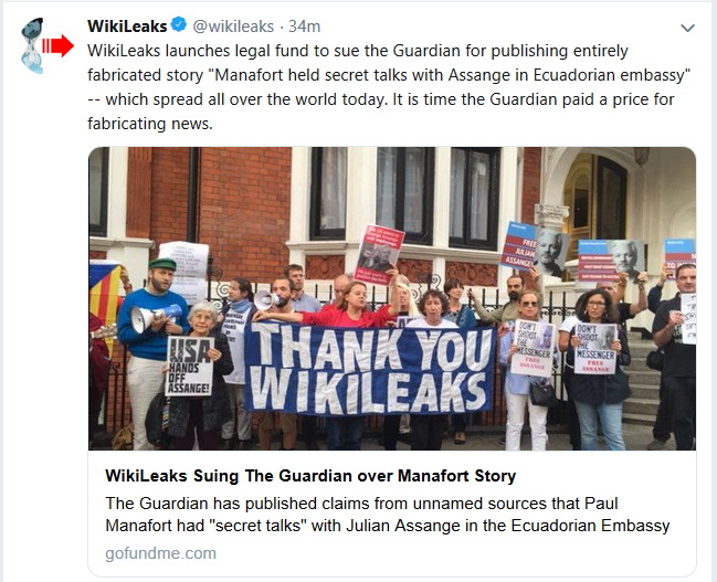 "WikiLeaks Raising Money to Sue ""The Guardian"""
