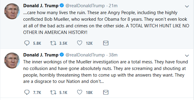 Trump Breaks Silence on Mueller Probe
