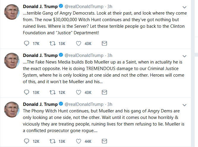 "Trump Blasts Mueller's ""Vicious"" Treatment of People, ""Phony Witch Hunt"""