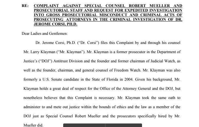 "Criminal Complaint Against Mueller Claims ""Gross Prosecutorial Misconduct and Criminal Acts"""