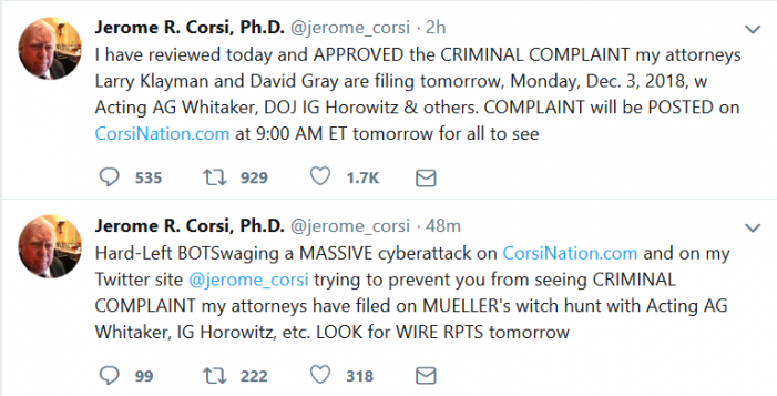 Corsi to Release Criminal Complaint Monday Morning