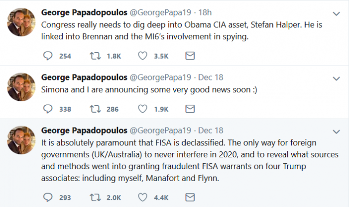 "Papadopoulos Again Urges Release of ""FISA"" Documentation"