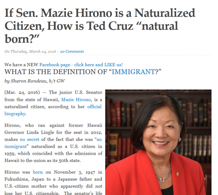 """US Senate"" Accesses ""natural born Citizen"" Article"
