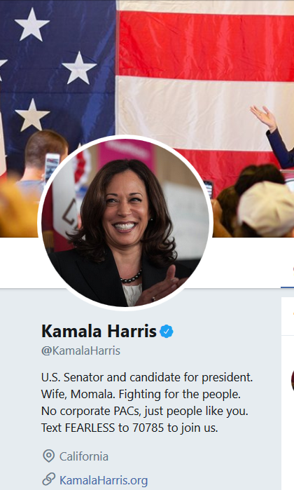 Harris's Presidential Campaign Website Says Nothing about Her Early Years
