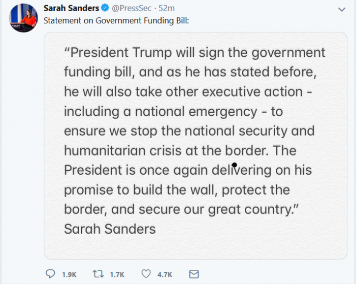 "Sanders:  Trump to Take ""Executive Action"" to Complete Border Barrier"