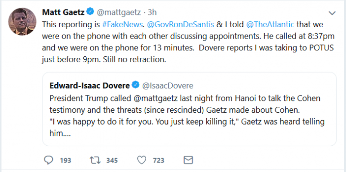 Rep. Gaetz Asks for Retraction, but Will He Get It?