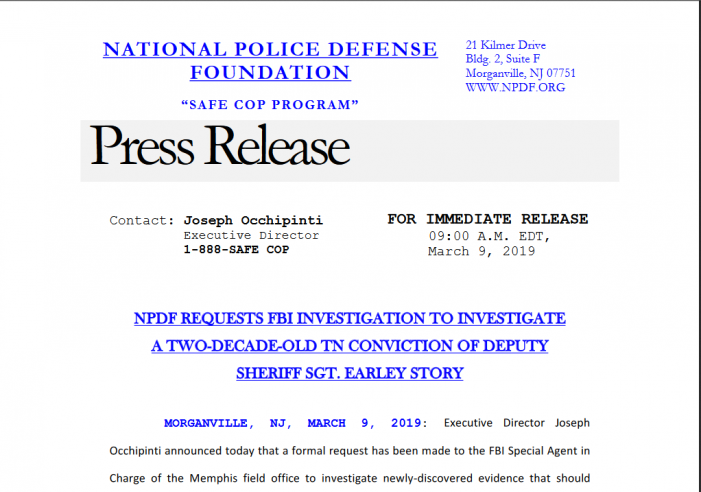 National Police Defense Foundation Calls Upon FBI, Elected Officials to Probe Conviction of Former Shelby County Officer