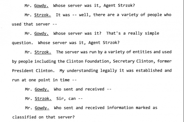 "Strzok:  Clinton Server Used by ""Variety of People"""