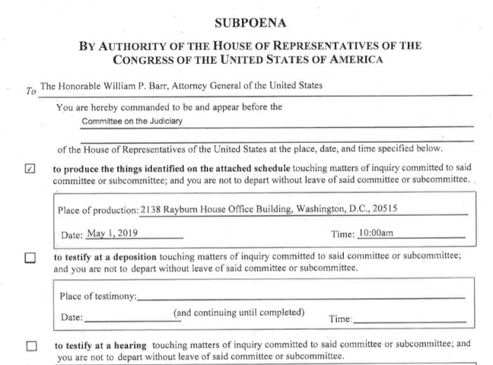 Nadler Issues Subpoena to Barr for Mueller Documents