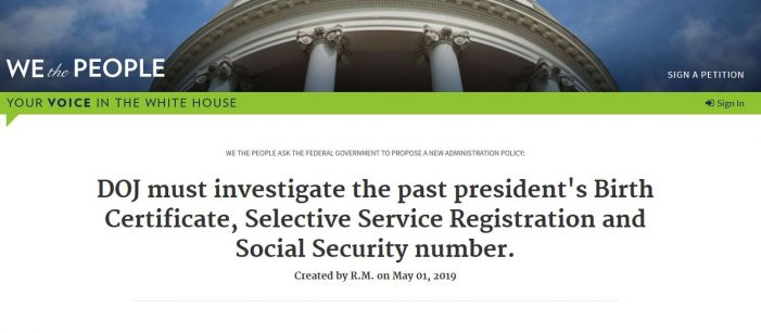 "White House Petition Asks Justice Department to Investigate Obama's ""Documentation"""