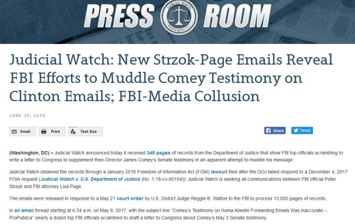 "Judicial Watch:  There was ""Collusion"" Between Mainstream Media and FBI in Russia Probe"