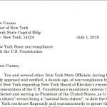 New York State Citizen Contacts Governor about Inaccurate Presidential Requirement