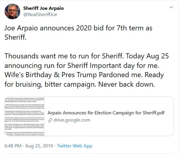 Arpaio Announces Candidacy for Maricopa County Sheriff