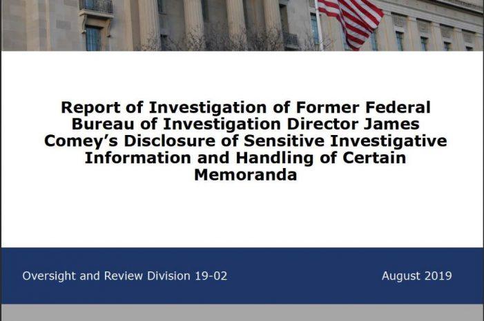 DOJ Inspector General Report on Former FBI Director Released