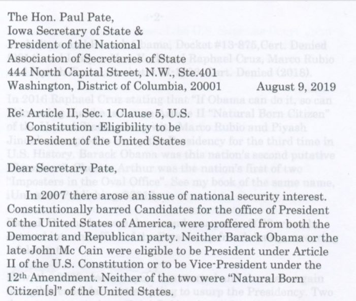 """Citizen Contacts Secretaries of State on """"natural born Citizen"""" Issue"""