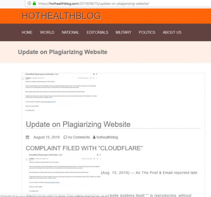 Blog Continues to Steal Our Work