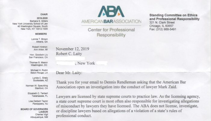 ABA Responds to Citizen's Complaint Against Whistleblower Attorney