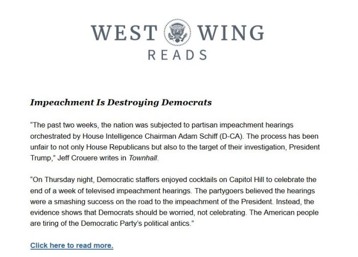 Post & Email Contributor's Column Featured in White House Daily Newsletter