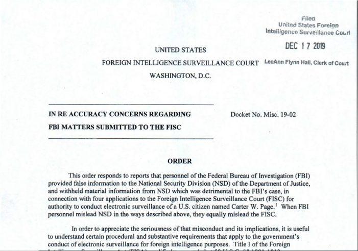 "FISC Excoriates FBI for ""Providing False Information"""