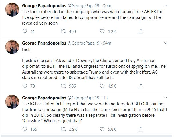 Papadopoulos Contradicts Inspector General's Testimony, Claims FBI Planted a Spy in the Trump Campaign