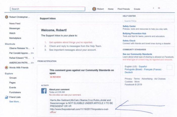 "Exclusive:  Facebook Designates Comment on Presidential Eligibility ""Hate Speech"""
