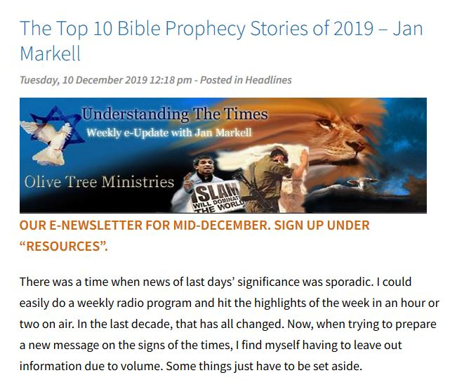 The Top 10 Bible Prophecy Stories of 2019
