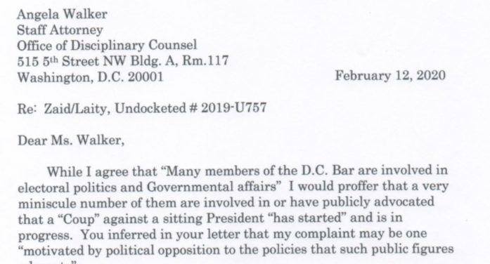 """Exclusive: DC Disciplinary Counsel Declines to Investigate Whistleblower Attorney Calling for """"Coup"""" Against Trump"""