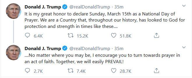 "Trump Declares Sunday ""National Day of Prayer"""