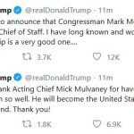 Trump:  Rep. Mark Meadows to Become Next Chief of Staff