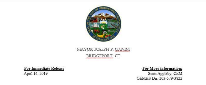 Mayor Ganim Announces First Responders from Bridgeport and Surrounding Towns to Salute Healthcare Workers in Cares Caravan