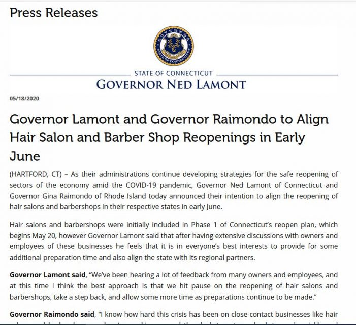 Two Days Before Reopen Date, Lamont Backtracks on Hair Salons, Barbershops