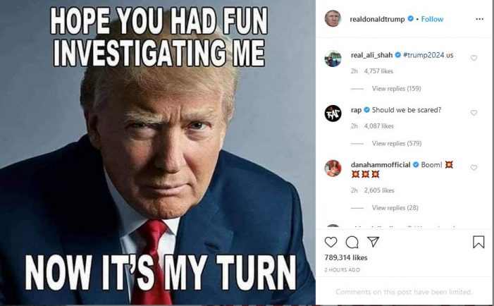 "Trump:  ""Now It's My Turn"" to Investigate"