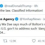 Trump Points to South Korean News Reports Re: John Bolton, Classified Information