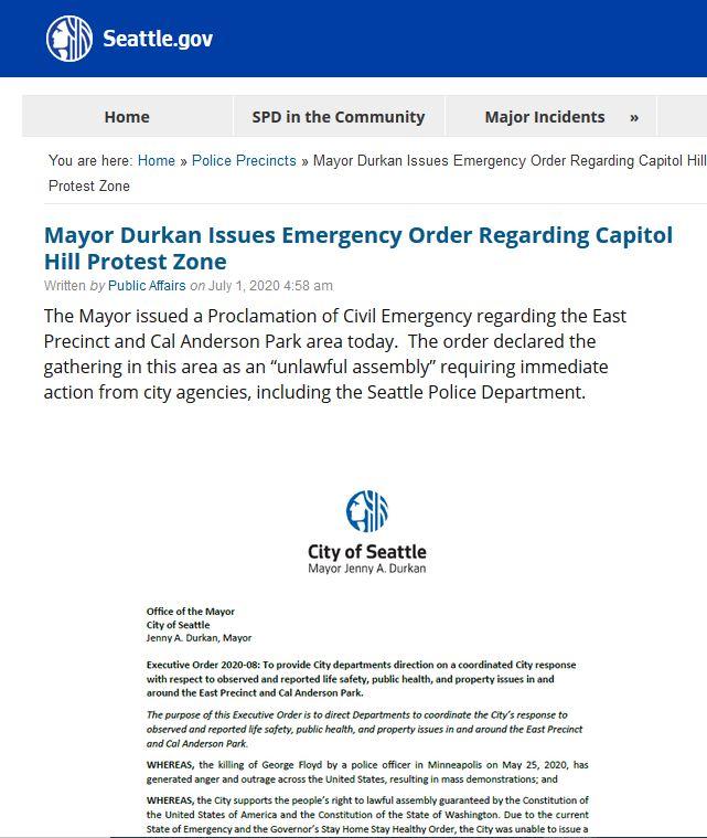 """Seattle Mayor Declares CHOP Occupation """"Unlawful"""""""