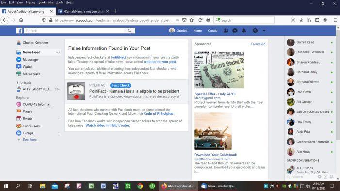 Facebook Censors Posts on Kamala Harris's Eligibility