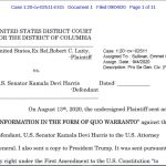 Harris Eligibility Suit Docketed in Federal Court
