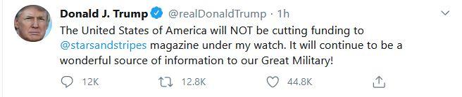"Trump Contradicts Media, Pentagon on Defunding of ""Stars & Stripes"""